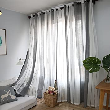 DEZENE Vertical Striped Sheer Curtains For Living Room Tulle Panels With  Grommets,76 Inches Width Part 42