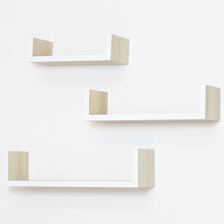 Frank Flechtwaren Set mensole da parete in legno naturale, 3 pezzi