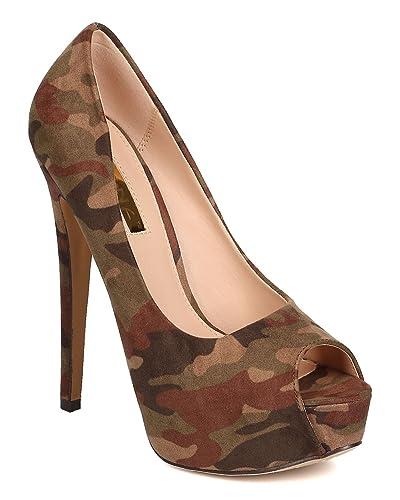 Suede   Liliana FF24 Damens Faux Suede  Camouflage Peep Toe 700cd5
