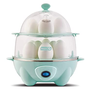 Dash DEC012AQ Deluxe Rapid Egg Cooker: Electric, 12 Capacity for Hard Boiled, Poached, Scrambled, Omelets, Steamed Vegetables, Seafood, Dumplings & More, with Auto Shut Off Feature, Aqua