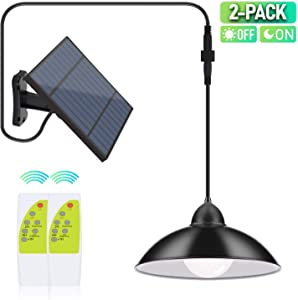 2 Pack Solar Lights Outdoor, Cord LED Solar Shed Lights 32.8FT, Remote Control Pendant Lamp with Adjustable Solar Panel, IP65 Waterproof for Indoor Home Decor Outdoor Garden Patio Yard-Daylight White