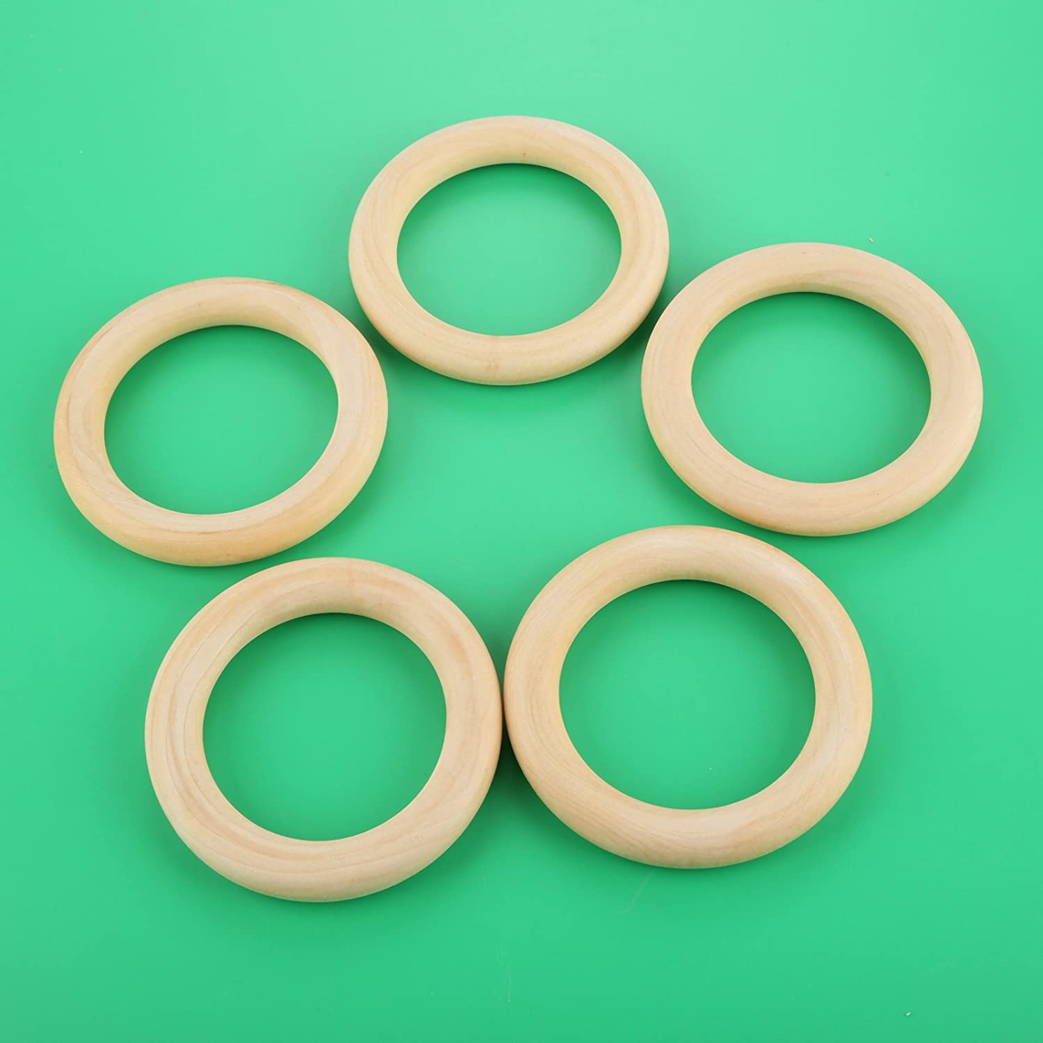 Unfinished Wooden Rings for Craft Handmade Jewelry and Decorations 45MM 20 Pcs Round Wooden Hoops Wood Pendant Connectors Wooden Rings Circle