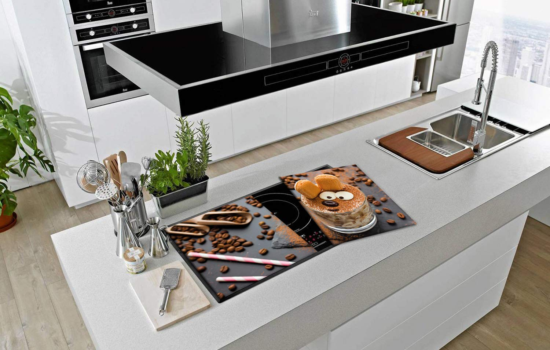 40 x 52 cm chacun SemUp Lot de 2 en c/éramique pour plaques de cuisson /électriques /à induction Panneaux de protection en verre tremp/é Grande planche /à d/écouper en verre tremp/é