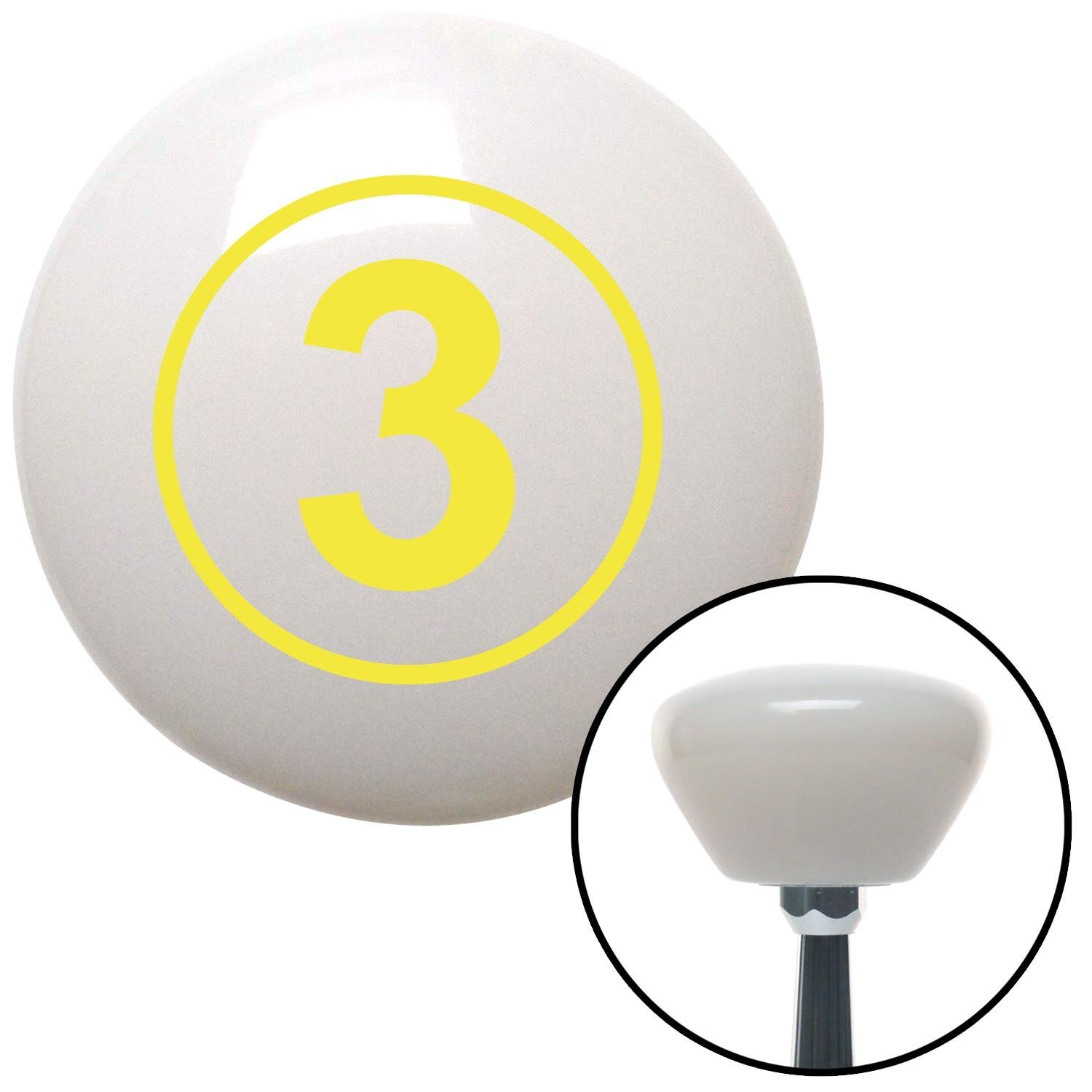 Yellow Ball #3 American Shifter 151812 White Retro Shift Knob with M16 x 1.5 Insert