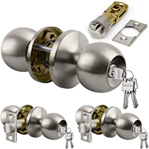 [3 Pack] Entry Door Knob Set with Lock, Keyed Different, for Entrance and Front Door, Satin Nickel, by BESTTEN