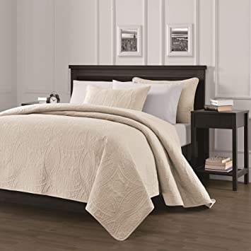 Chezmoi Collection Austin 3 Piece Oversized Bedspread Coverlet Set (King,  Ivory)