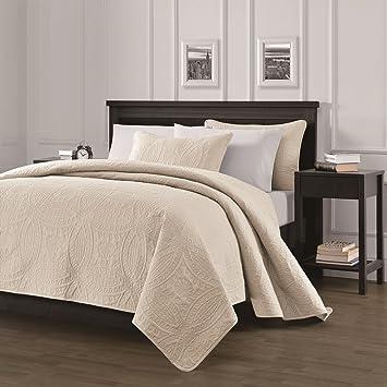 Wonderful Chezmoi Collection Austin 3 Piece Oversized Bedspread Coverlet Set (King,  Ivory)