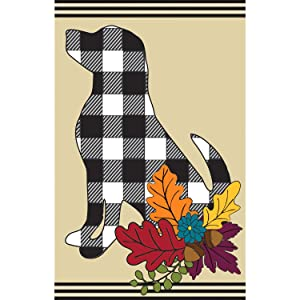 Evergreen Flag Double Sided Welcome Flag Fall Dog Silhouette Garden Applique Flag Outdoor Décor for Homes Gardens and Yards