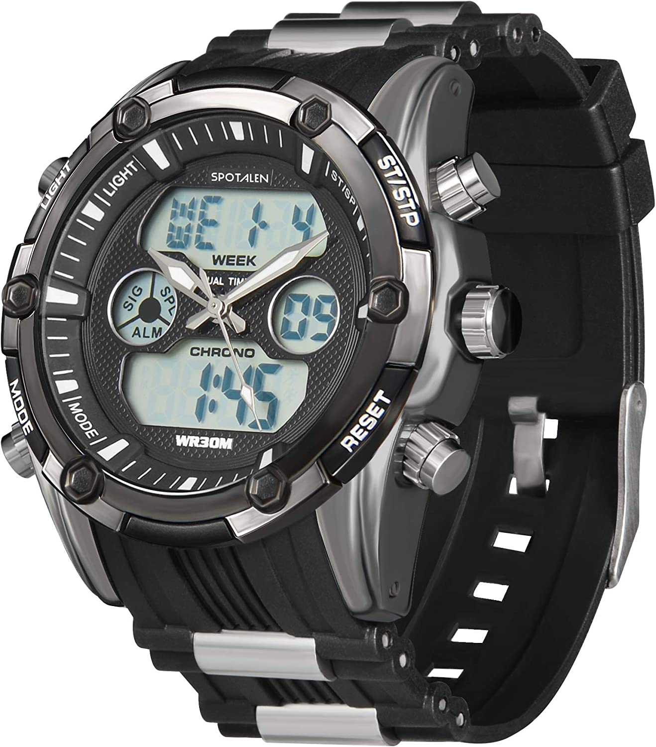 Men Watch Sport Analog Digital Casual Military Watches for Man Chronograph Alarm Backlight with Silicone Band