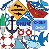 Blue Orchards Shark Photo Props (32 Pieces) for Photo Booths, Kids Birthdays, School Functions and More! Our Photo Prop Party Favors are Pre-Made (Not DIY) for Your Convenience!