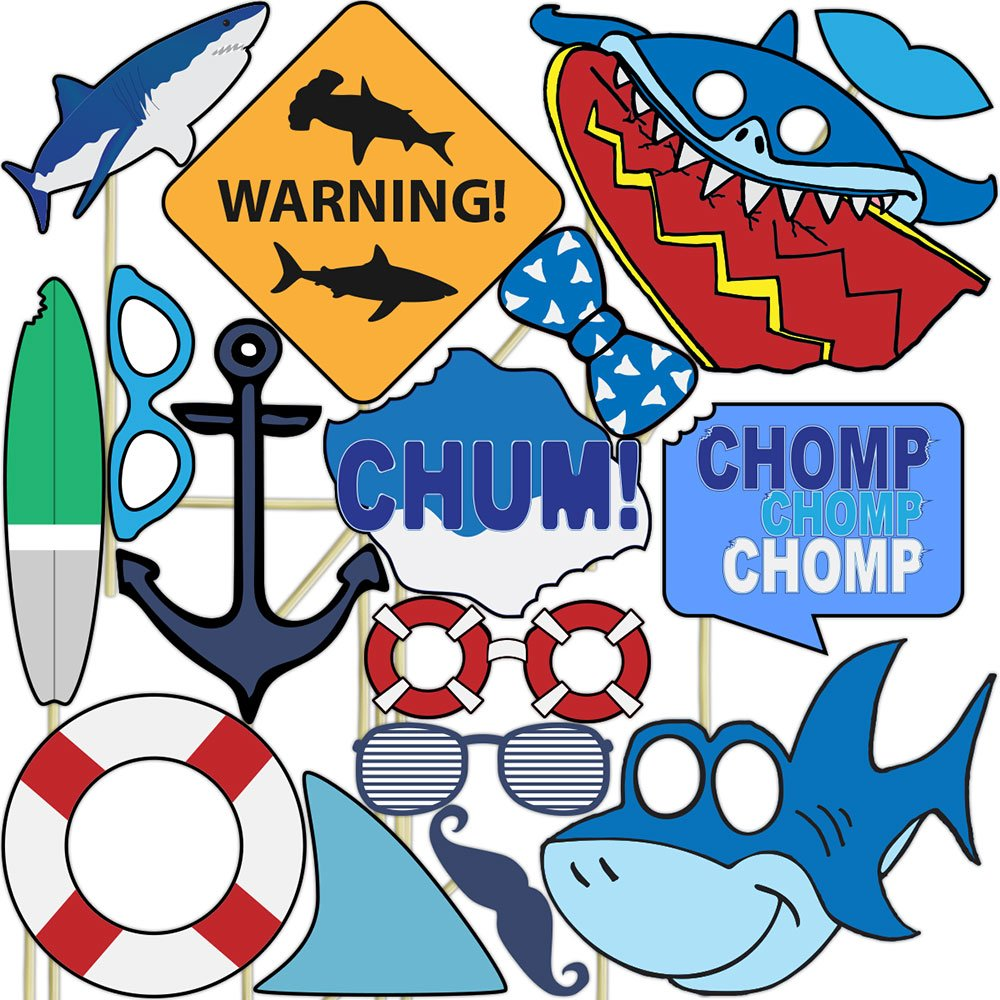 Shark Photo Props (32 Pieces) for Photo Booths, Kids Birthdays, School Functions and More! Our Photo Prop Party Favors are Pre-Made (Not DIY) for Your Convenience!