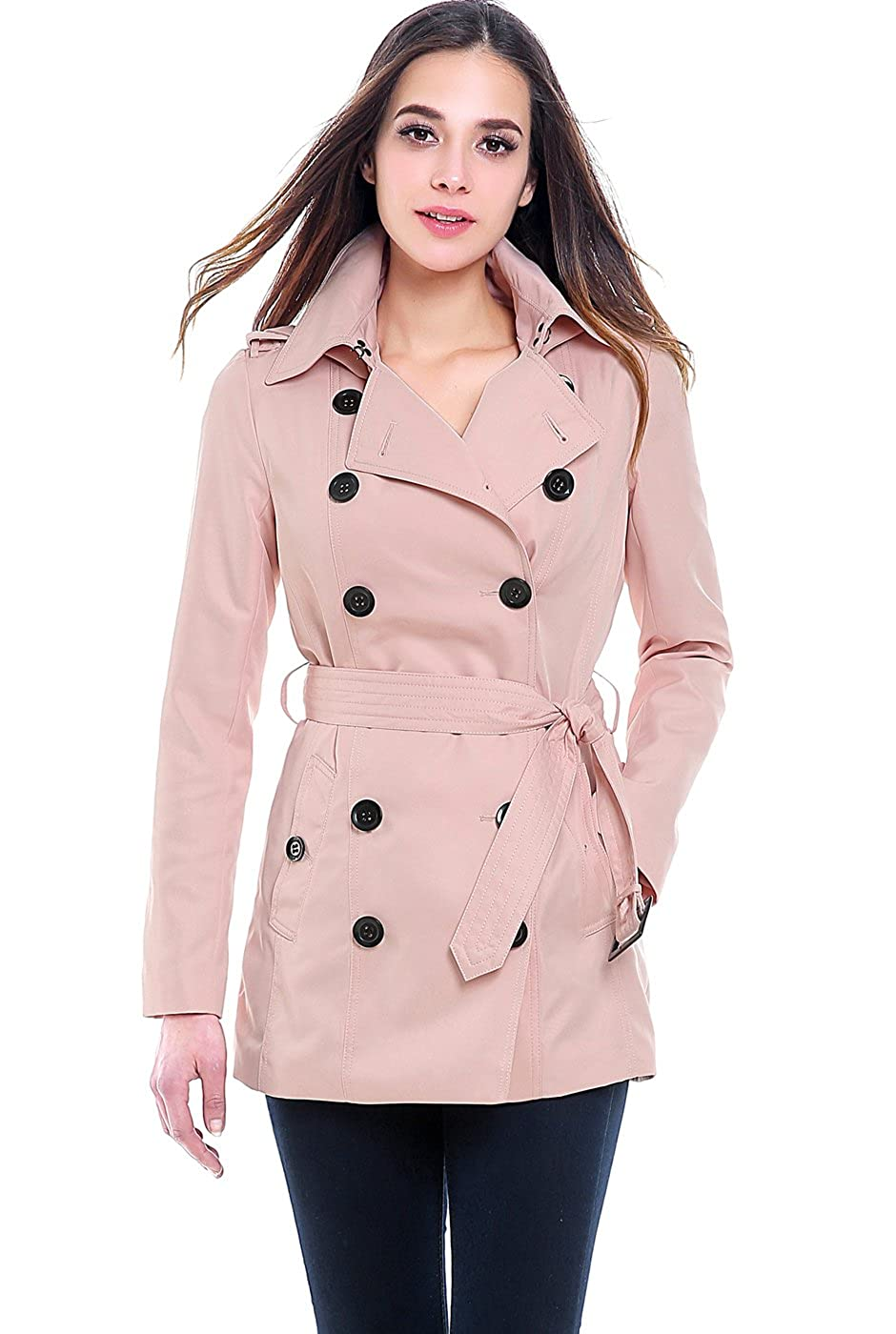 bluesh BGSD Women's Tori Classic Hooded Short Trench Coat