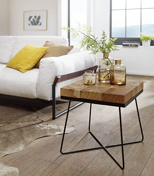 Wohnling Zari Side Table 45 X 45 X 51 Cm Acacia Solid Wood With Metal Frame Industrial Table Square Solid Wood Brown Living Room Table Modern Wooden Table With Metal Legs Amazon De