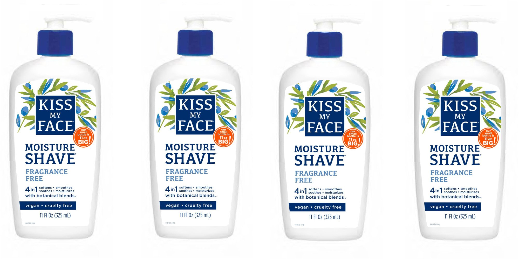 Kiss My Face Moisture Shave Shaving Cream, Olive and Aloe Fragrance Free Shaving Soap for Sensitive Skin, 11 oz Pumps (Pack of 4)