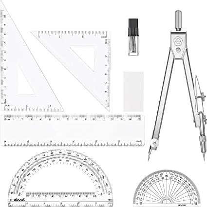 Ruler Geometry New 10 x Pink Educational Safety Drawing Compass
