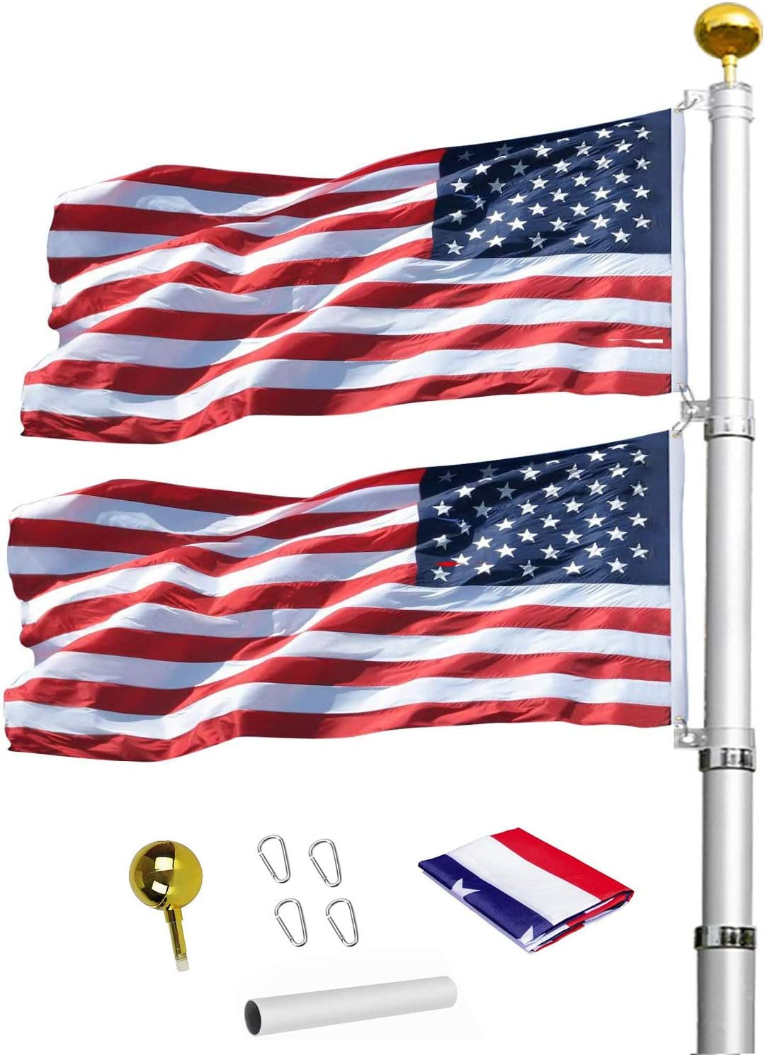 20FT Telescoping Flag Poles, Heavy Duty Flag Pole Kit, Includes Aluminum Flagpole, American Flag, Gold Ball Ornament,4 Stainless Steel Clips.
