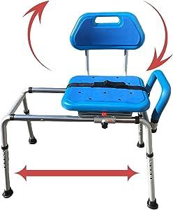Gateway Premium Sliding Bath Transfer Bench with Swivel Seat-Padded (Blue)