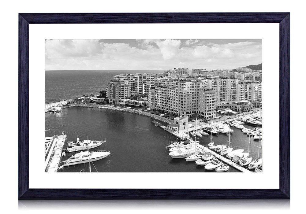 モナコ、都市、青い海、桟橋、ヨット、住宅、空、雲 木製の黒色のフォトフレーム 壁の絵 壁掛け ソファの背景絵画 壁アート写真の装飾画の壁画 白黒 (60cmx40cm) B074W6Y2RX