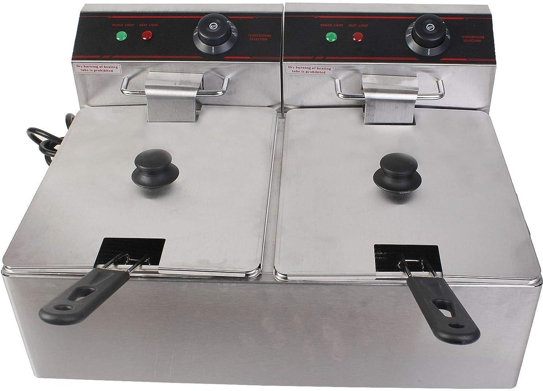 Hakka Commercial Stainless Steel Deep Fryers Electric Professional Restaurant Grade Turkey Fryers (2x6 Liter)