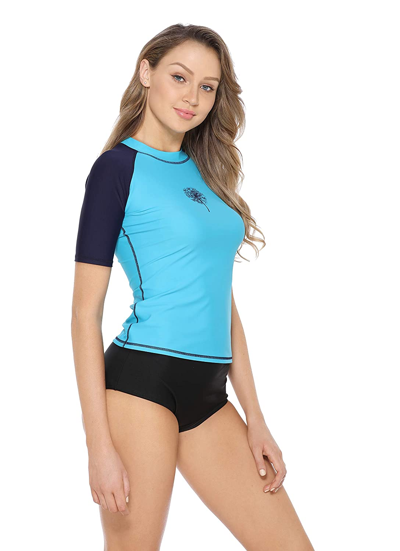 Eono Essentials Women/'s Rash Vest UPF 50 Rash Guard Swimsuit Top