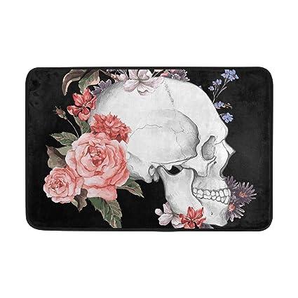 Amazon.com: Blue Viper Vintage Roses and Skull Non-Slip ...