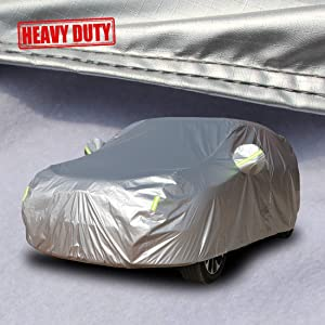 Shieldo Heavy Duty Car Cover with Windproof Straps and Buckles 100% Waterproof All Season Weather-Proof Fit 196-210 inches SUV