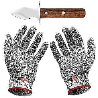 Guantes Anticorte Cuchillo de ostra con par de guantes Anti Daily Cuts Protección de nivel 5 EN 388 Certified (Kitchen, Gardening, DIY) (Pequeño (S))