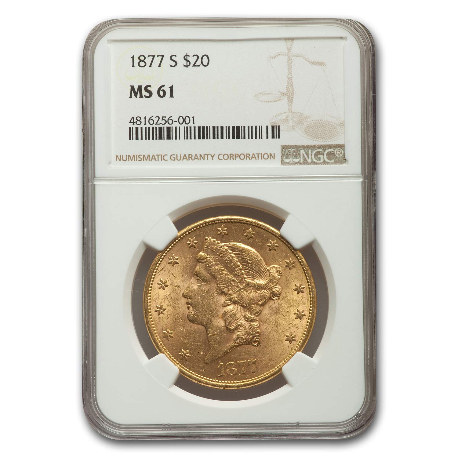 1877 S $20 Liberty Gold Double Eagle MS-61 NGC G$20 MS-61