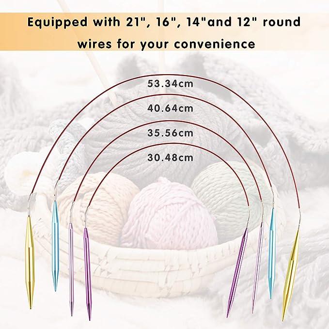 agujas tejer circulares intercambiable 13 pares Agujas de punto de aluminio 2.75mm-10mm con estuche de almacenamiento Para Principiantes y Profesionales ...