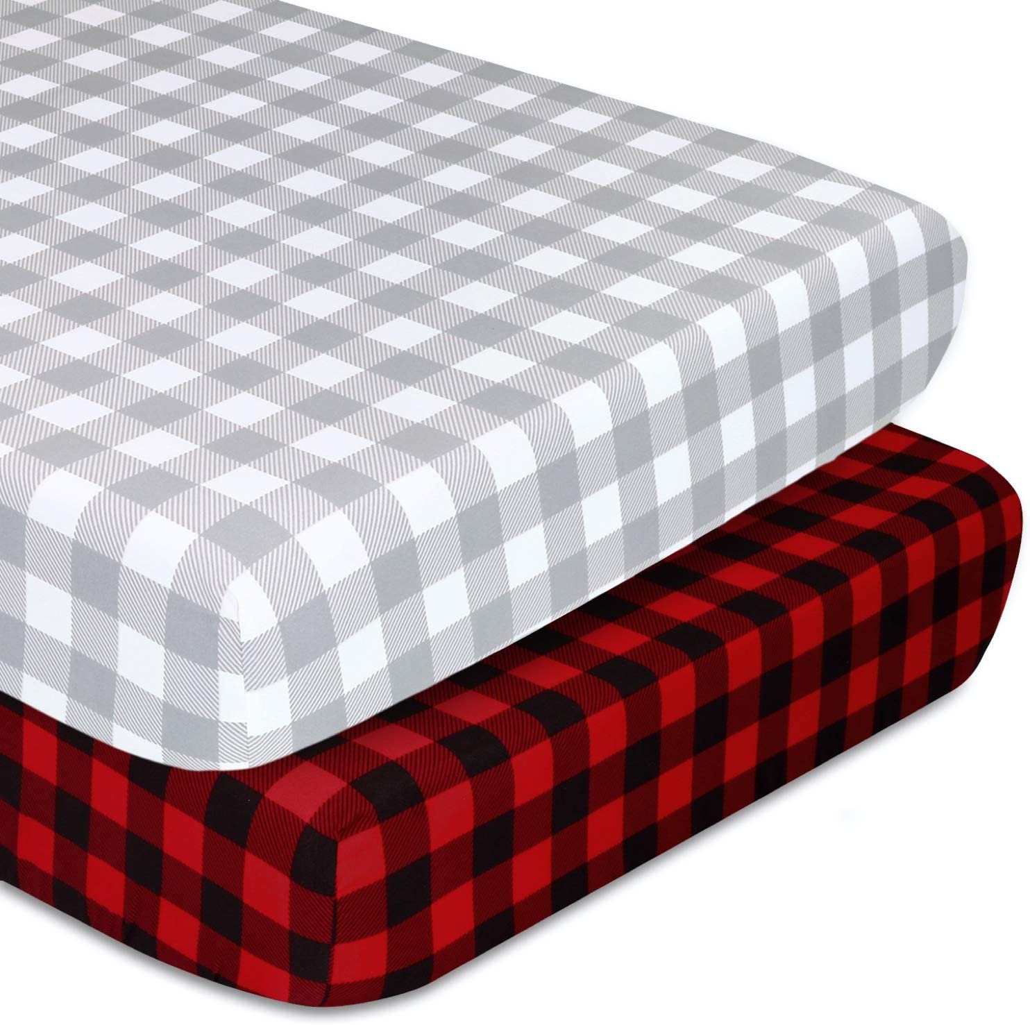 The Peanutshell Fitted Pack n Play, Playard, Mini Crib Sheets for Baby Boys or Girls   2 Pack Set   Red and Grey Buffalo Plaid