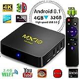 LinStar Smart TV Box Android 8.1, MX10 Quad Core 4GB RAM+32GB ROM RK3328 H.265 Supporta USB3.0 WIFI 3D 4K Full HD