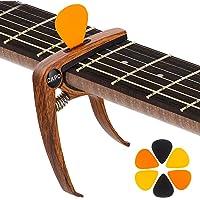 KQJ Cejilla de Guitarra con 6 Púas Guitarra, [Grano de Madera] Capo Guitarra para Guitarra Acústica, Guitarra Eléctrica…