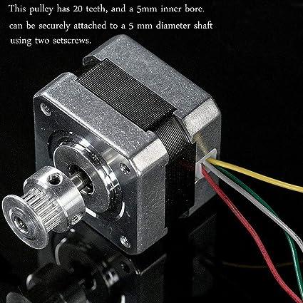 NACTECH GT2 Correa Dentada 5 Metros 6mm Ancho con 8pcs GT2 Poleas 8mm 20 Dientes Sincronización Para CNC Impresora 3D Incluido Llave L e 14 Tornillos: ...