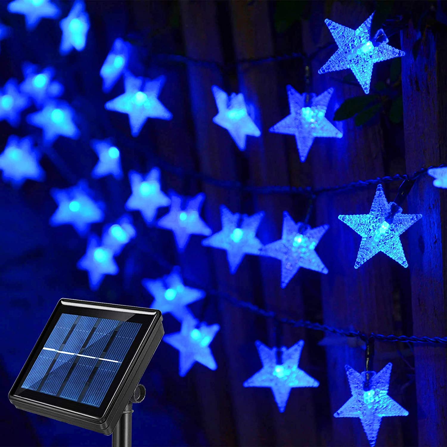 50FT 120 LED Star Shaped Solar String Lights Blue,Waterproof Outdoor Fairy Lights Solar Powered for Garden,Canopy,Gazebo,Porch,Pergola,Lawn Patio,Landscape,Balcony,Outside Christmas Tree Decorations