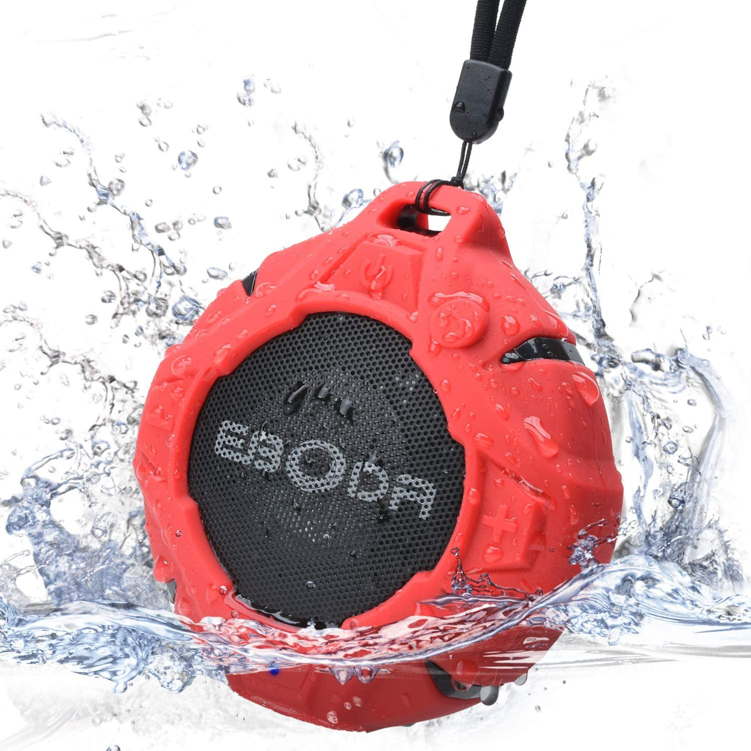 EBODA Shower Speaker, Waterproof Portable Bluetooth Speakers with Crisp Sound, IP67 Water Resistance Outdoor Wireless Speaker with Enhanced Bass, Built-in Microphone for Shower, Beach, Hiking- Red