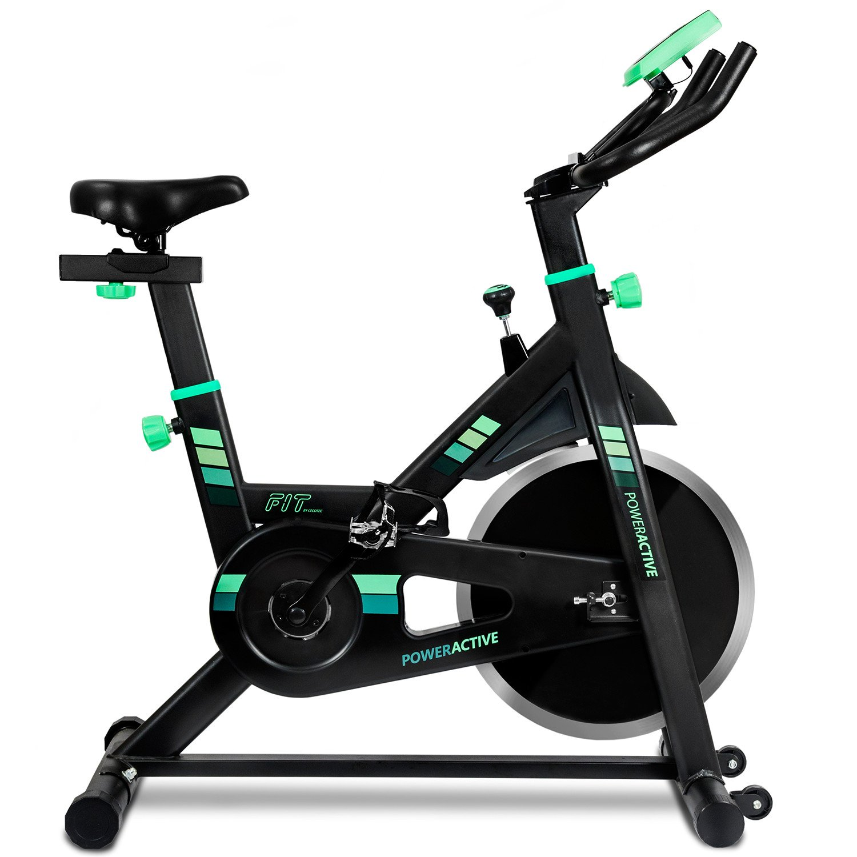 Bicicleta spinning profesional PowerActive de Cecotec. Silenciosa. Ergonómica. Resistencia variable. Sillín confort. Freno emergencia. Pantalla LCD. Volante inercia 13 Kg. Calapiés. Ruedas