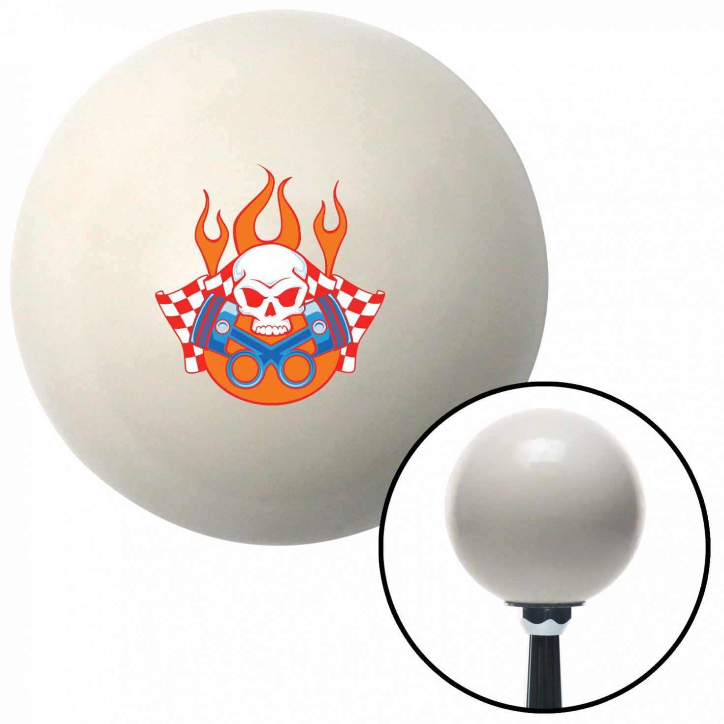 Skull and Pistons 3 American Shifter 42392 Ivory Shift Knob with 16mm x 1.5 Insert