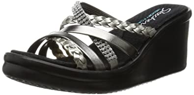 SKECHERS Womens Wild Child Wedge Strappy Sandals