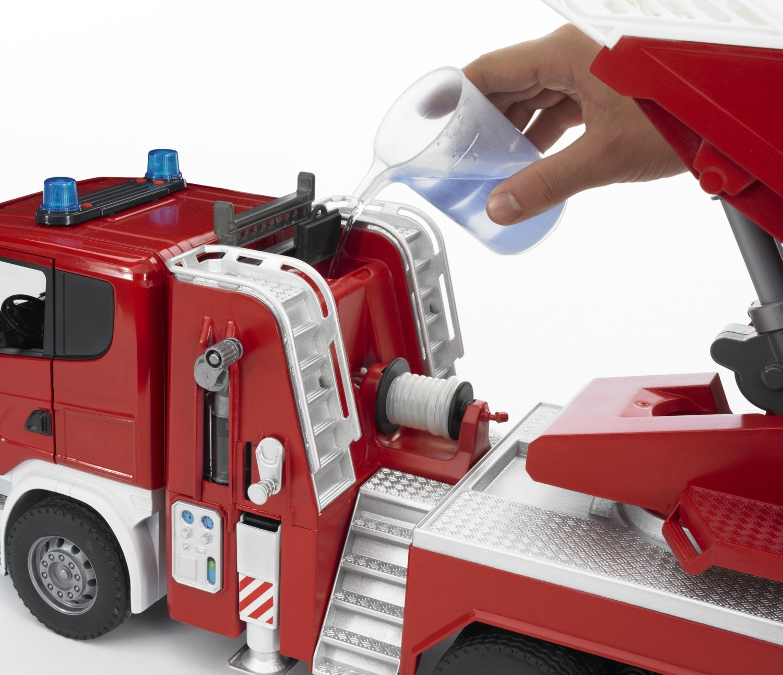 Camion pompier SCANIA R-serie rouge 03590 avec /échelle et pompe /à eau BRUDER