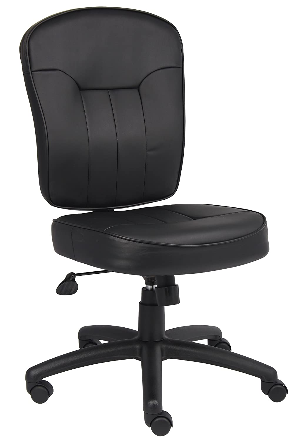 Boss Leather Adjustable Task Chair Without Arms, Black
