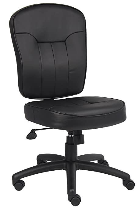 black and white office. boss leather adjustable task chair without arms black