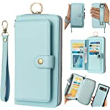 Galaxy S10 Plus Leather Flip Case,Galaxy S10 Plus Wallet Case for Women and Men,AIFENG [14 Card Holder][Zipper][Magnetic Deta