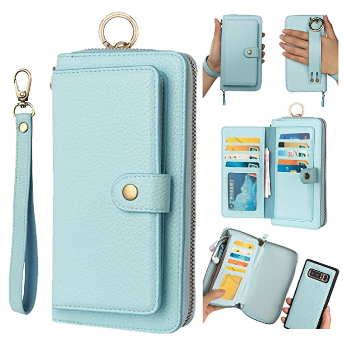 best website d1736 afaca Galaxy Note 8 Leather Flip Case Cover,Galaxy note 8 wallet Case For Women  and Men,AIFENG [14 Card Holder][Zipper][Magnetic Detachable] Wallet Folio  ...