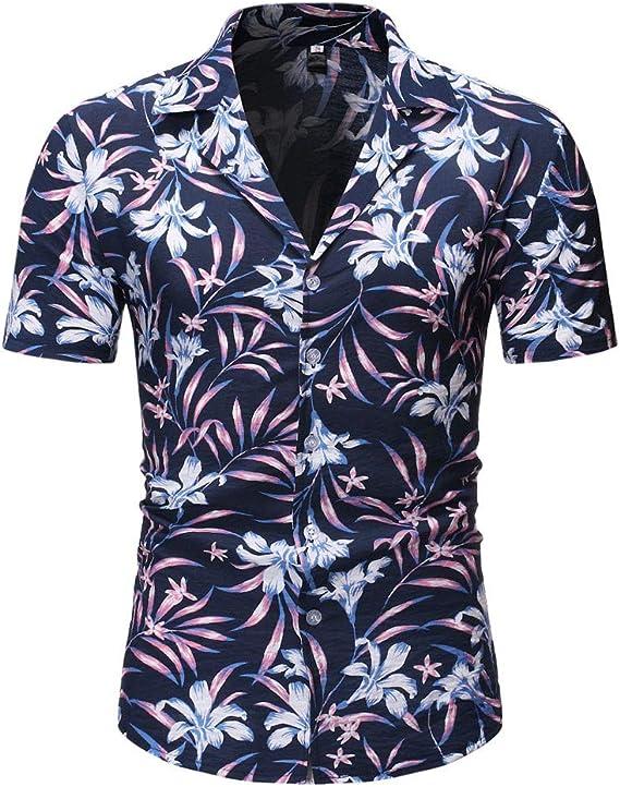 SoonerQuicker Camisa T Shirt tee 2019 Botón Casual de Moda para Hombre Estampado de Hawai Playa Manga Corta Blusa de Secado rápido: Amazon.es: Ropa y accesorios
