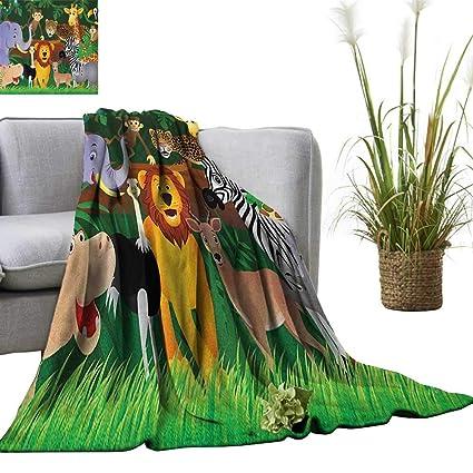 Amazon.com: Zoo Custom Design Cozy Flannel Blanket Animals ...