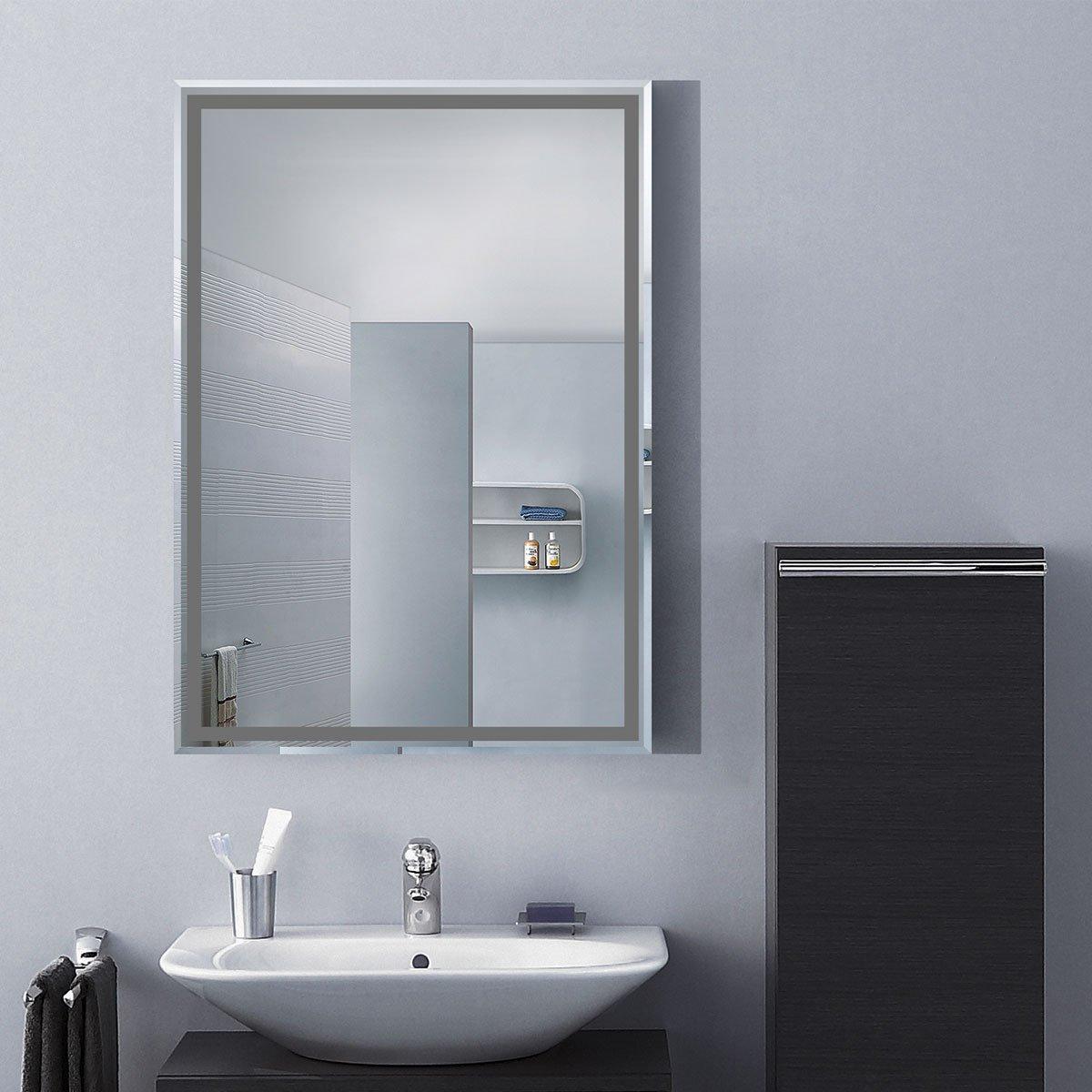 DECORAPORT 28''20'' Frameless Wall-mounted Bathroom Silvered Mirror Rectangle Vertical Vanity Mirror (A-C226B)