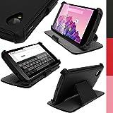 igadgitz u2717eco-piel Flip Case Schutzhülle für LG Google Nexus 5mit Funktion/Schlaffunktion und Displayschutzfolie, Schwarz
