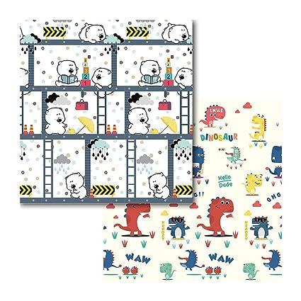 plegable Takefuns Alfombrilla de juegos para bebé de doble cara reversible para niños pequeños y bebés(200 x 180 cm) antideslizante portátil extragrande impermeable