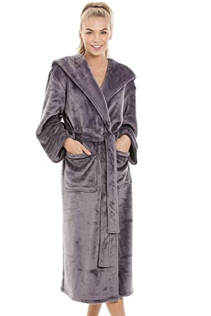 4f7ec098d11a4f Camille Bademantel aus extra-weichem Fleece - Grau: Camille: Amazon ...