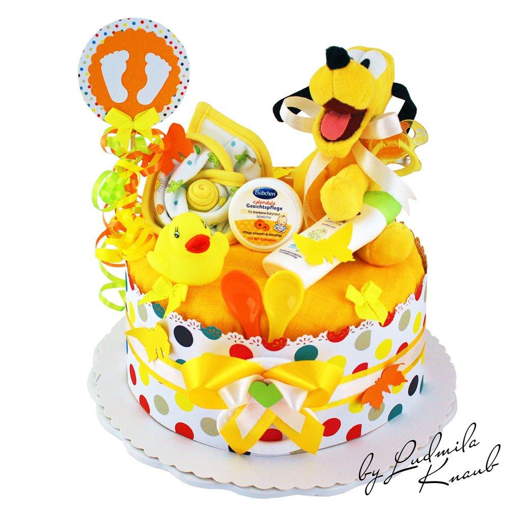 Gâteau gâteau/Pampers Couches > > Pluto, bébé cadeau pour fille et garçon dans un beau jaune Argile (neutre)//Cadeau de naissance, baptême, baby party//Cadeau Original et Pratique Pour Bébé 1.232